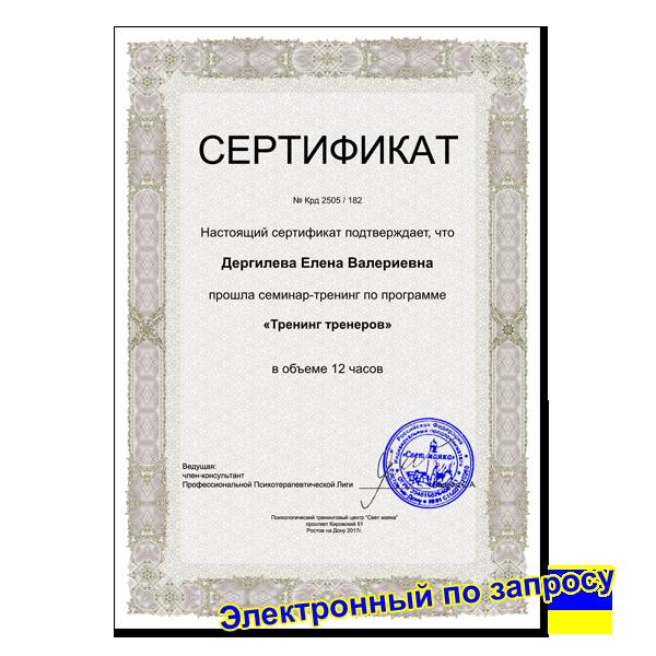Сертификат Видео семинар «Тренинг тренеров»